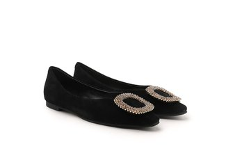 8728-119 Black Crystal Buckle Embellished Suede Flats