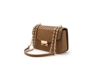 88189 Brown Wrap Weave Crossbody Bag