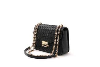 88189 Black Wrap Weave Crossbody Bag