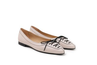 985-30 Beige Corset Lace-up Pointed Leather Ballerina Flats