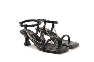 LT2005-2 Black Chain Link Strappy Sandal Heels