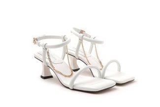LT2005-2 White Chain Link Strappy Sandal Heels