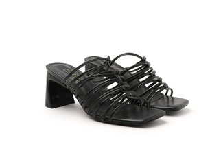 LT319-9 Black Strappy Block Heel Slide Heels