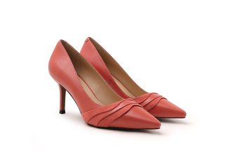 LT828-62 Peach Suede Drape Leather Pointy High Heels
