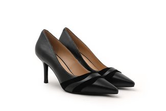 LT828-62 Black Suede Drape Leather Pointy High Heels