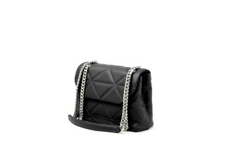 87230 Black Quilted Chain Strap Shoulder Bag