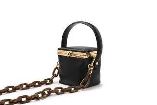 11103 Black Top Handle Boxy Mini Bag