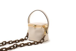11103 Beige Top Handle Boxy Mini Bag