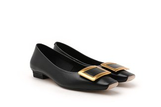 121-1 Black Rectangle Metal Buckle Low Heels