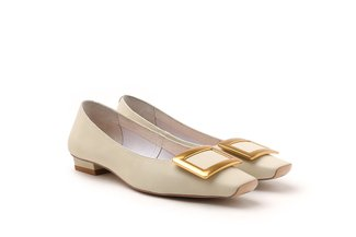 121-1 Beige Rectangle Metal Buckle Low Heels