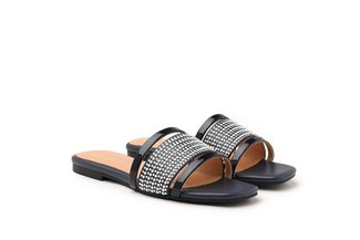 1689-1 Navy Pearl Diamante Bead Embellished Slides