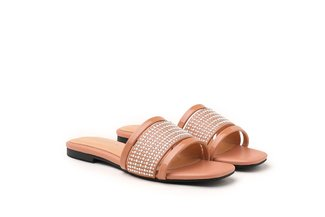 1689-1 Almond Pearl Diamante Bead Embellished Slides