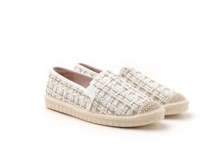 1919-1 White Tweed Lace-up Espadrille