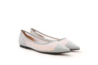 2007-01 Silver Sparkly Mesh Pointy Toe Flats