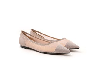 2007-01 Pink Sparkly Mesh Pointy Toe Flats