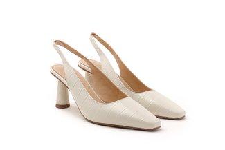 2071-2 Beige Croc-embossed Slingback Heels