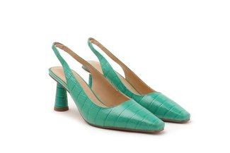 2071-2 Green Croc-embossed Slingback Heels