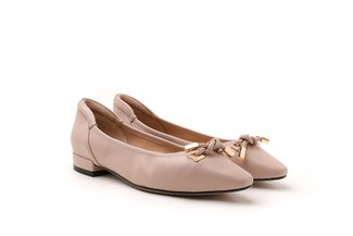 3990-3 Pink Knotted Square Toe Leather Flats