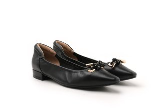 3990-3 Black Knotted Square Toe Leather Flat
