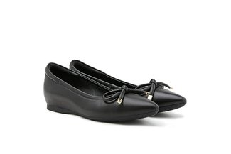 566-1 Black Poised Bow Pointed Toe Leather Flats