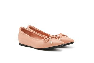 566-1 Pink Poised Bow Pointed Toe Leather Flats