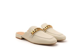 6219-26 Beige Vintage Chain Penny Loafer Mules