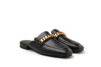 6219-26 Black Vintage Chain Penny Loafer Mules
