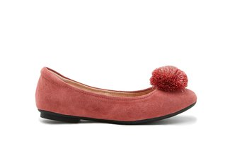 7601-3 Peach Pom-Pom Rounded Toe Flats
