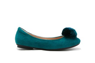 7601-3 Green Pom-Pom Rounded Toe Flats