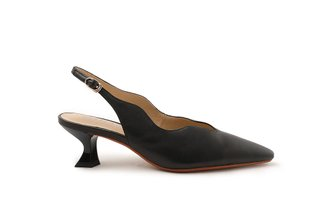 920-3 Black Low Cut Vamp Sling Back Kitten Heels