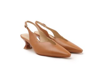 920-3 Camel Low Cut Vamp Sling Back Kitten Heels