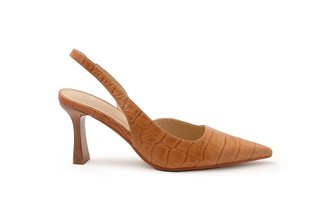 921-3 Brown Croc Effect Leather Slingback Heels