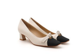 925-3 Beige Ribbon Square Toe Pumps