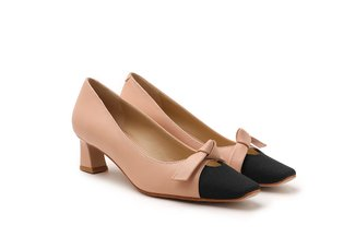 925-3 Nude Ribbon Square Toe Pumps