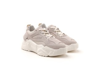 C19-18 Beige Chunky Athleisure Leather Sneakers