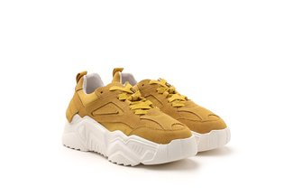C19-18 Yellow Chunky Athleisure Leather Sneaker