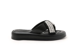 LT366-9 Black Crystal Embellished Criss Cross Sandals
