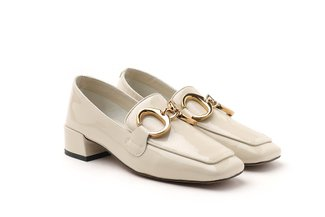 LT992-7 Beige Metal Hoop Buckle Loafer Heels