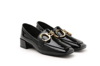 LT992-7 Black Metal Hoop Buckle Loafer Heels
