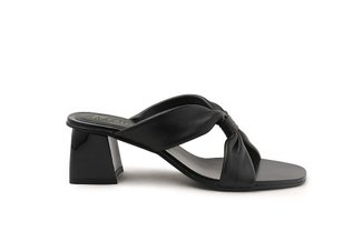 LT333-37 Black Front Twisted Slide Heels