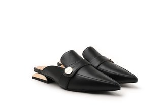 1033-1 Black Ornate Heel Pointed Penny Loafer Mules