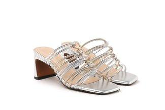 LT319-9 Silver Strappy Block Heel Slide Heels
