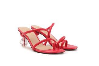LT536-6 Melon Strappy Ornate Heel Slide Sandals