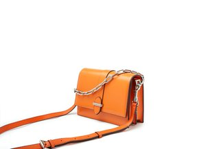 88191 Orange Metallic Chain Loop Handbag