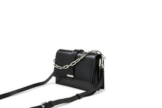 88191 Black Metallic Chain Loop Handbag