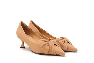2079-71 Almond Oversized Bow-Embellished Pointy Heels