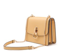 87226 Yellow Ring Turn Lock Leather Handbag