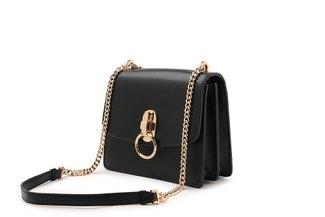87226 Black Ring Turn Lock Leather Handbag