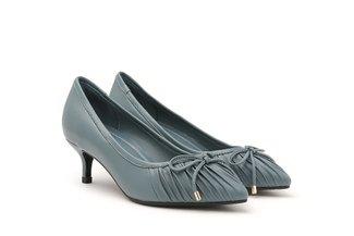 895-1 Blue Pleated Ribbon Heels