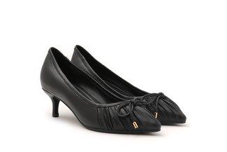 895-1 Black Pleated Ribbon Heels